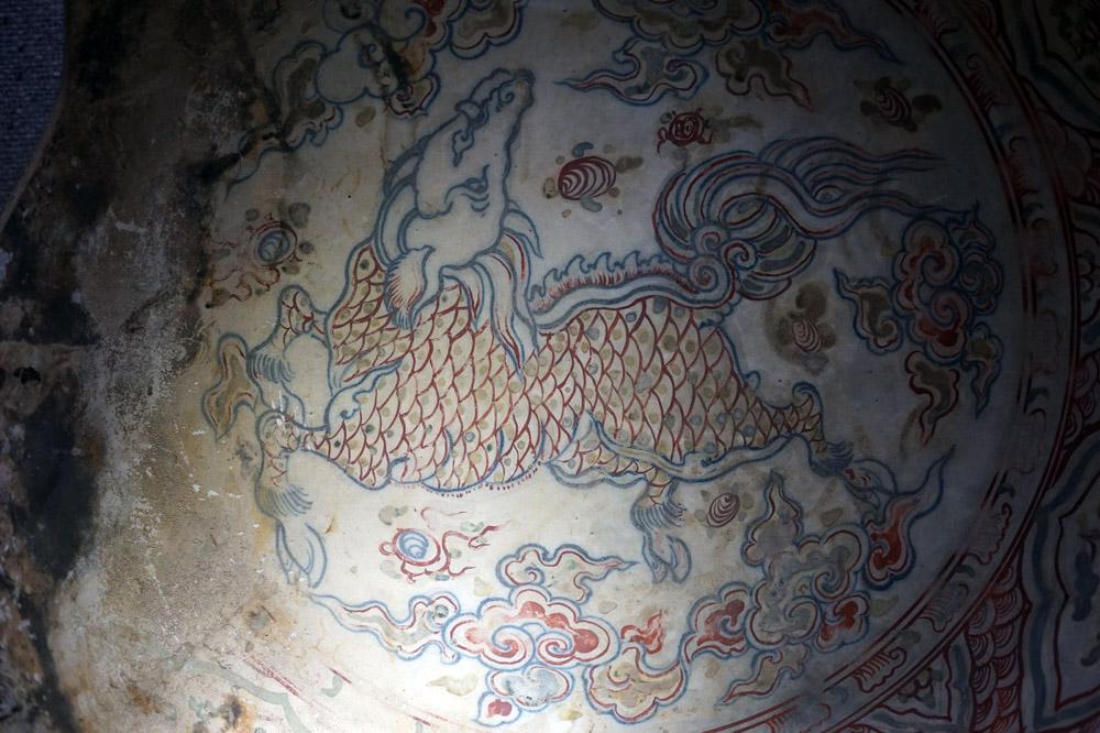 Hình kỳ lân trang trí trên đĩa thời Lê Sơ